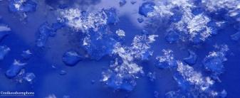 Snow crystal on blue