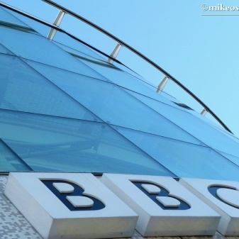 The modern 'front end' of the building houses the BBC's newsroom.
