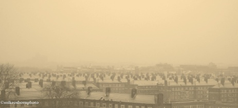 The White City housing estate under a wintry blanket