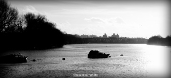 I greet the Thames at Hammersmith's Chiswick Mall, with the sunny haze of the brewery in the distance.