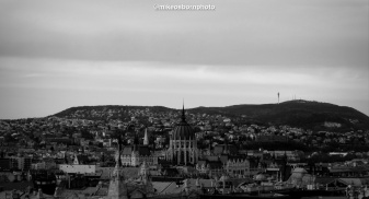 The parliament building and surrounds as seen from the roof of St Stephen's Basilica