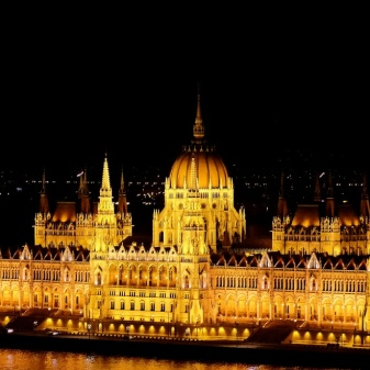 The parliament building in its night glory
