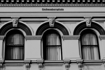 Ornate window frames in central Launceston