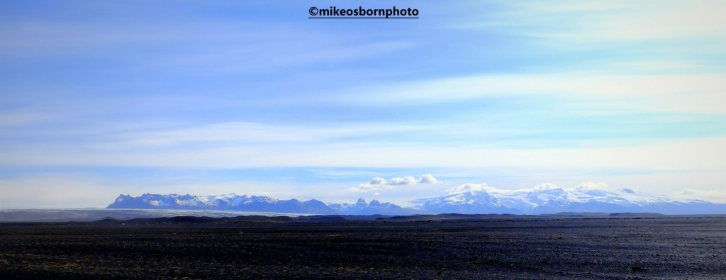 Mountain landscape and volcanic sand in Iceland