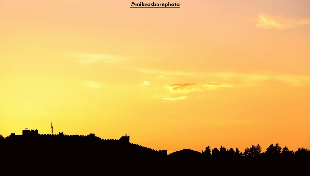 Silhouette of the ramparts of Ohrid castle, North Macedonia, at sunset