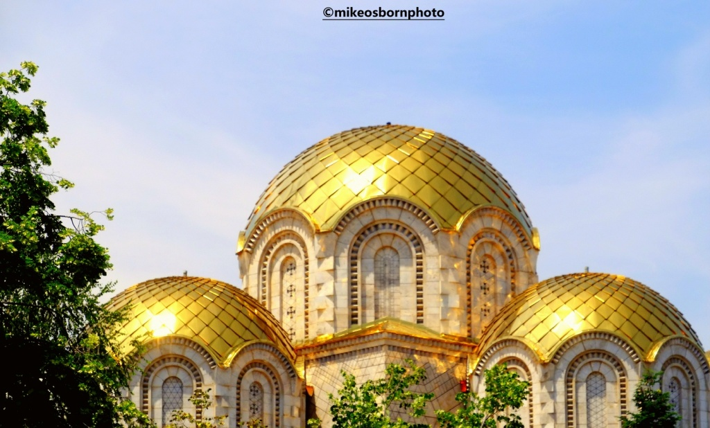 Golden church domes in Skopje, North Macedonia