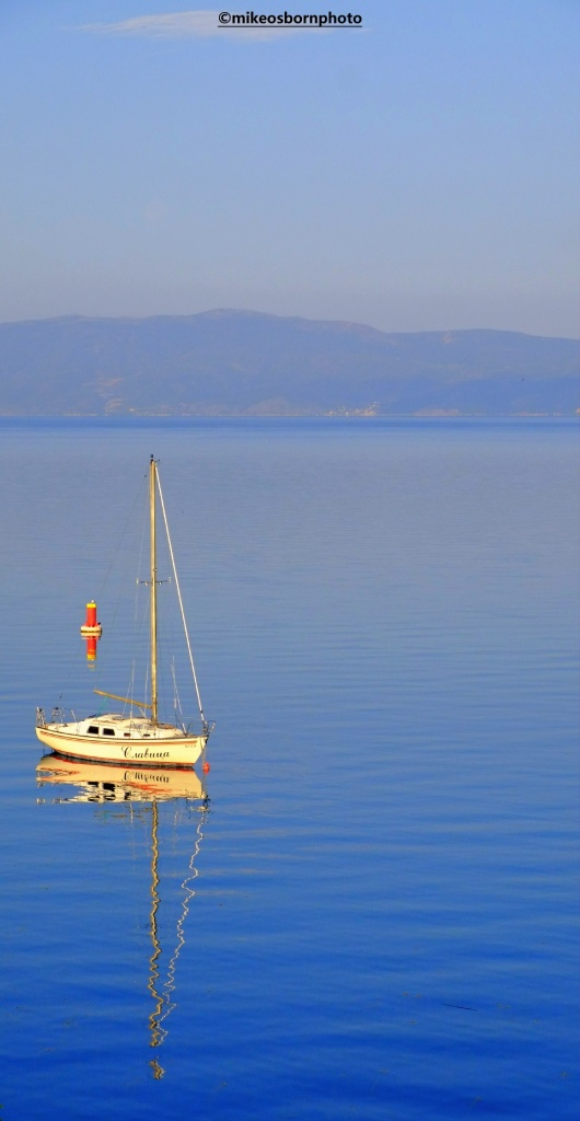 Small boat on Lake Ohrid, North Macedonia