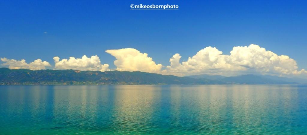 Clouds reflecting in Lake Ohrid, North Macedonia