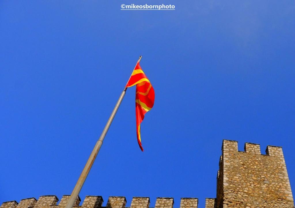 North Macedonian flag at Ohrid castle