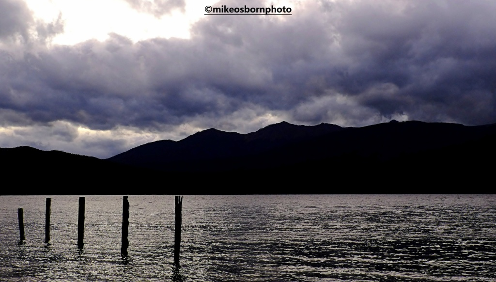 Stormy lakeside dusk over Te Anau, New Zealand