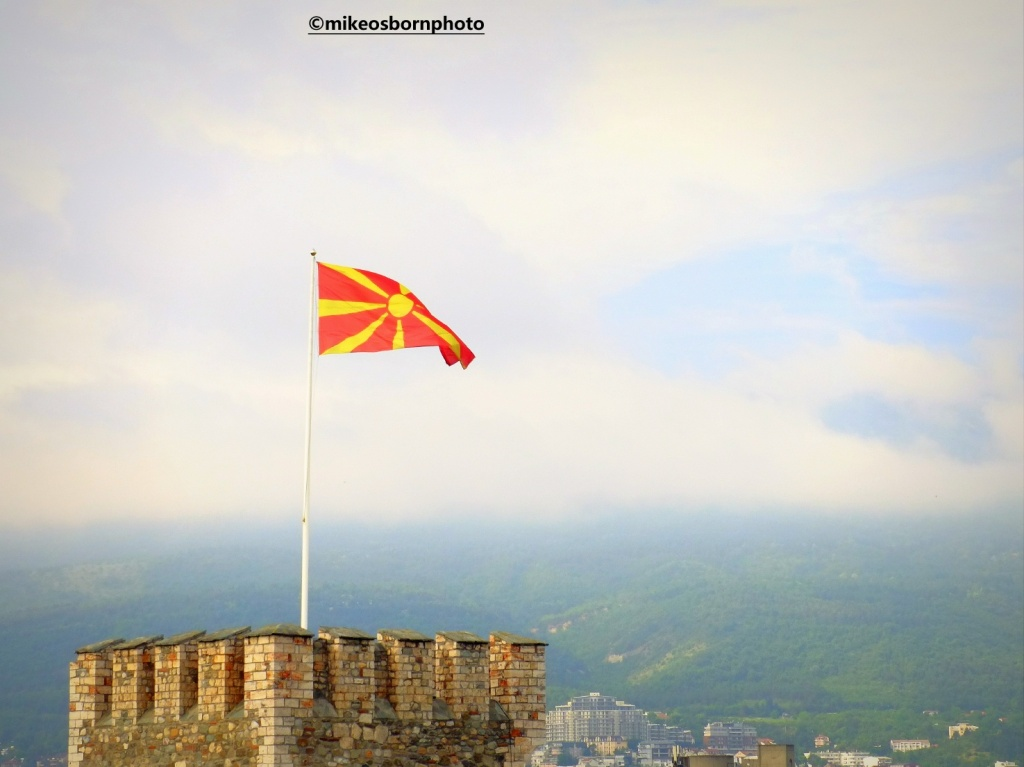 North Macedonian flag flying over Skopje castle