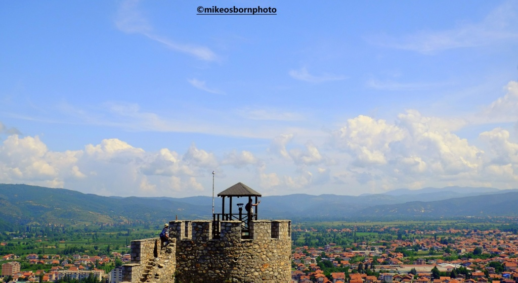 People climbing watchtowers of Ohrid Castle, North Macedonia