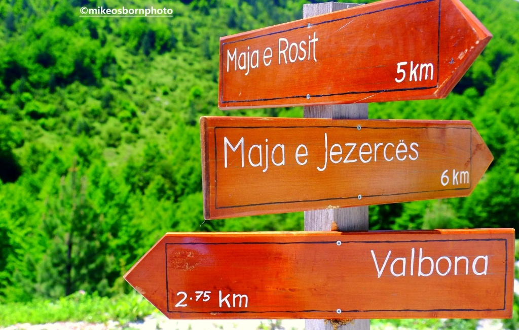 Signpost in Valbona mountains, Albania