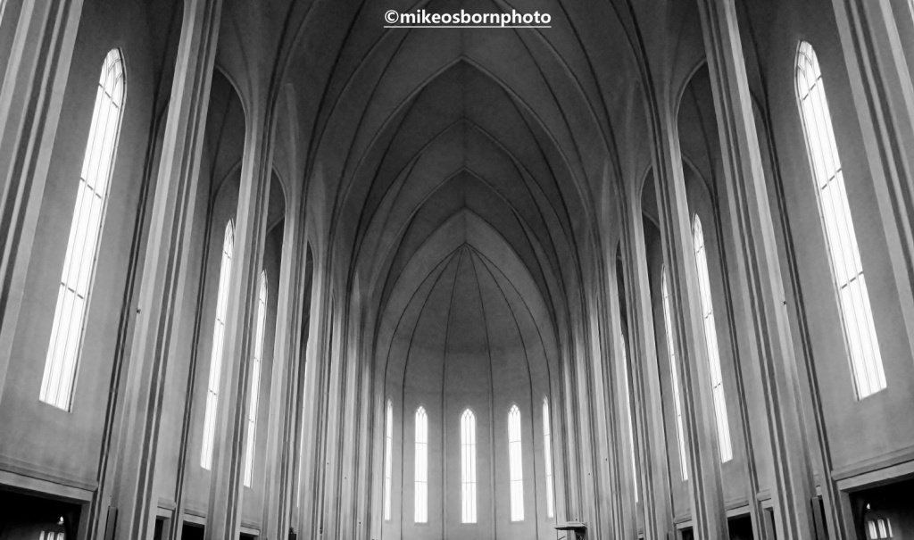 The interior of Hallgrimskirkja church, Reykjavik, Iceland