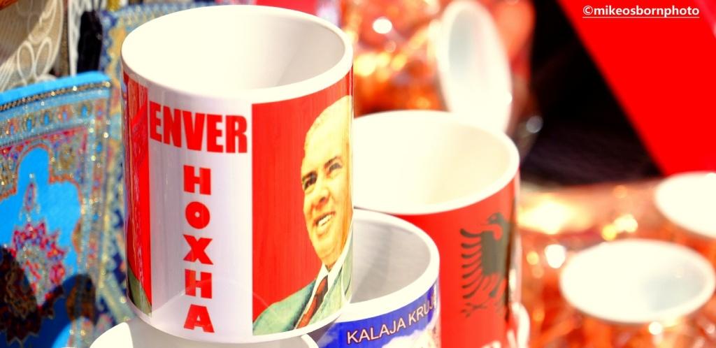 Albanian souvenirs including an Enver Hoxha mug