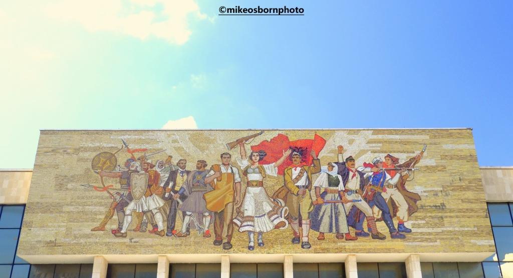 Socialist mural in Skanderbeg Square, Tirana, Albania