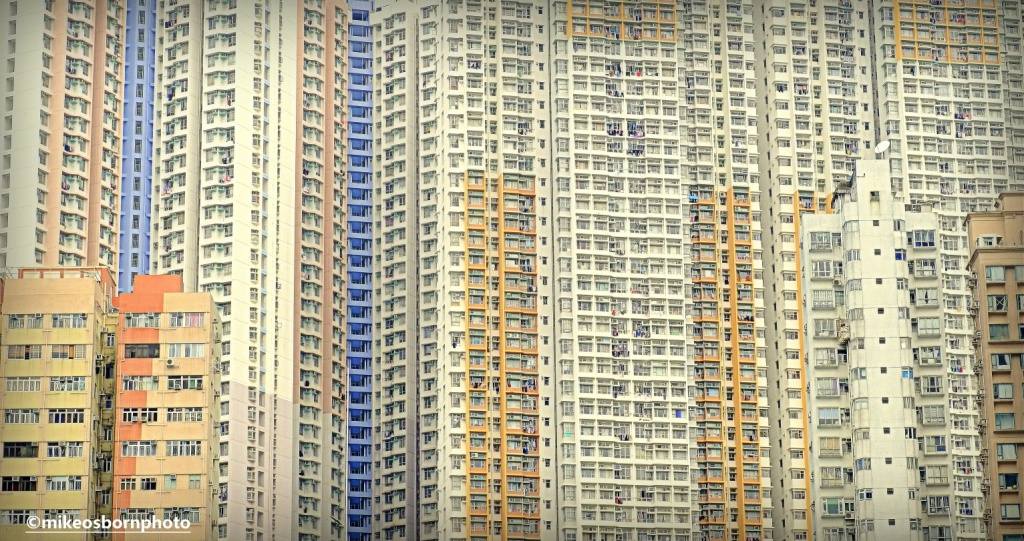 Dense residential high rise buildings in Hong Kong