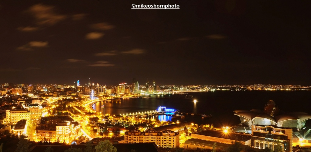 Night lights of Baku, Azerbaijan
