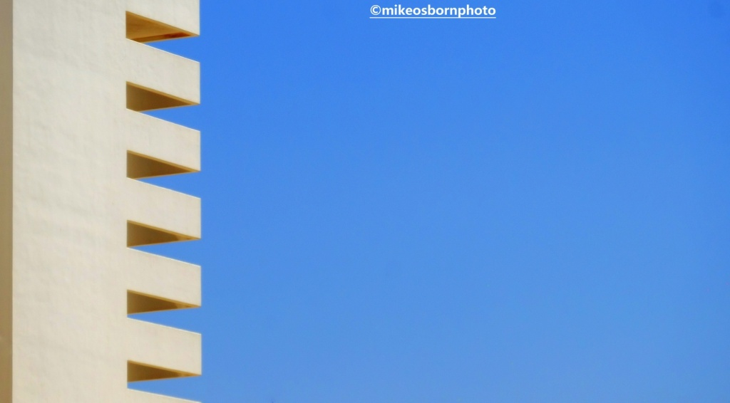 Hotel architecture and blue sky at Ein Bokek, Israel