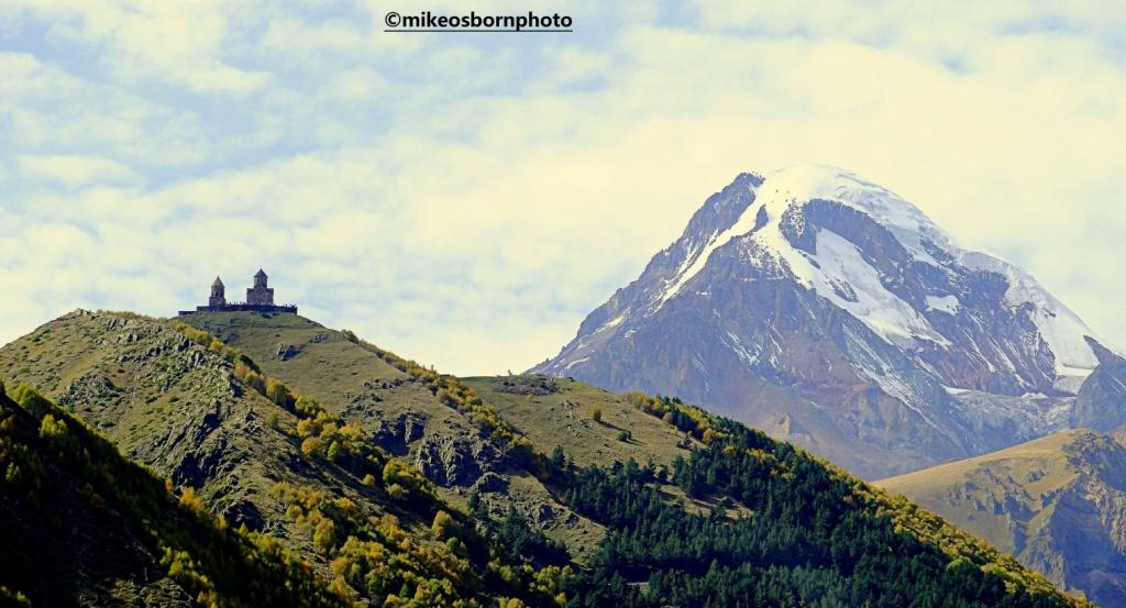 Kazbegi monastery and mountain in Georgia