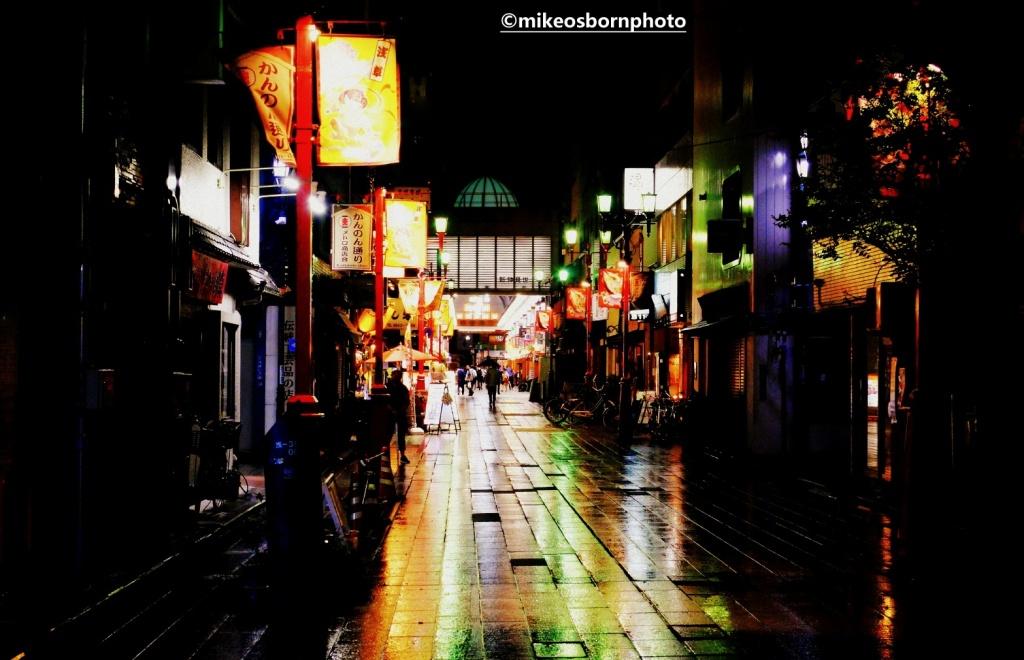 Night street scene in Tokyo, Japan