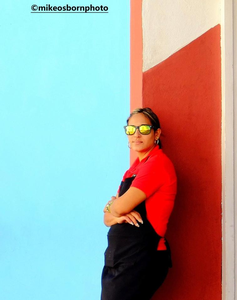 Waitress on a break in Trinidad, Cuba