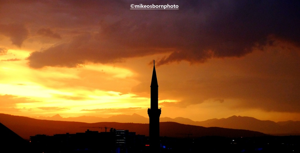 Stormy sunset and minaret in Prizren, Kosovo