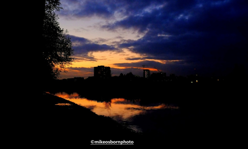 Sunset along Bridgewater Canal, Manchester