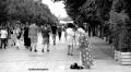 Pedestrians on Mother Theresa Boulevard, Pristina, Kosovo