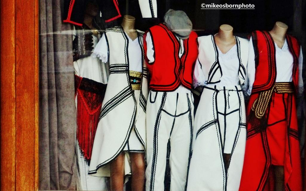 National costume shop window in Peja, Kosovo