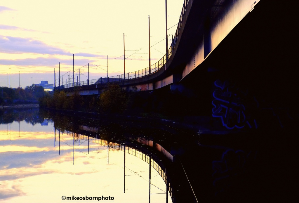 Tram tracks and Bridgewater Canal at Pomona, Manchester