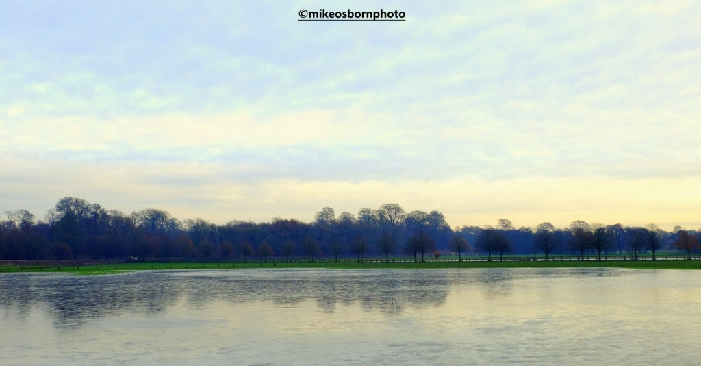 Flooded landscape at Dunham, Cheshire