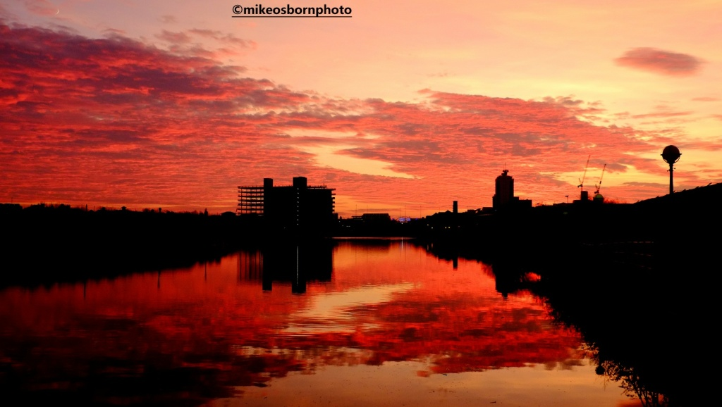 Sunset over Bridgewater Canal, Salford