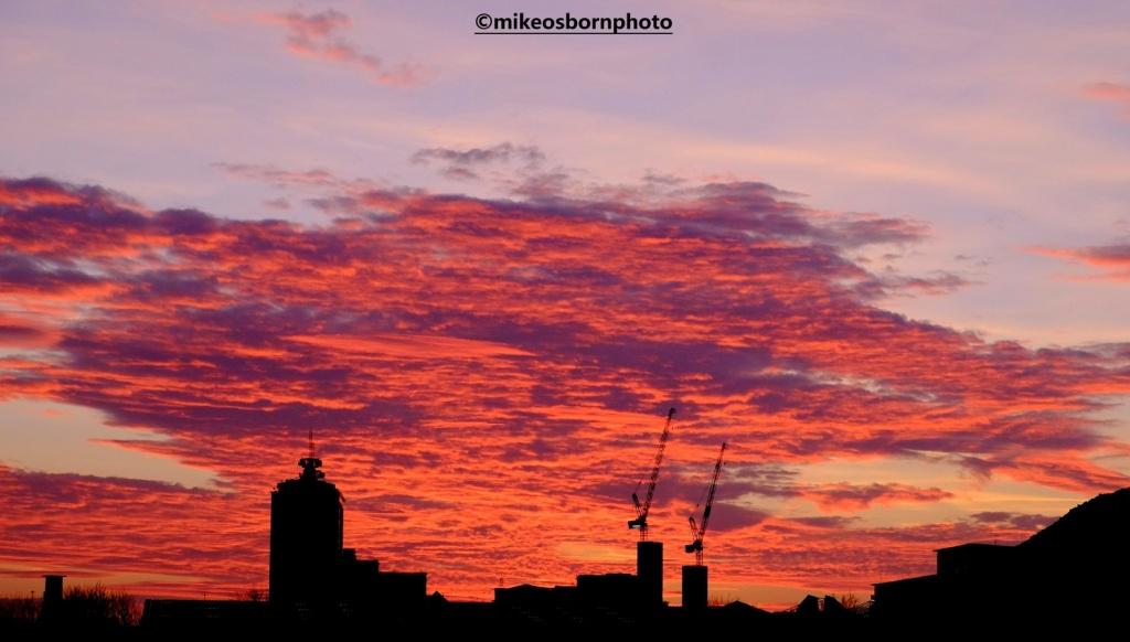Salford Quays skyline at sunset