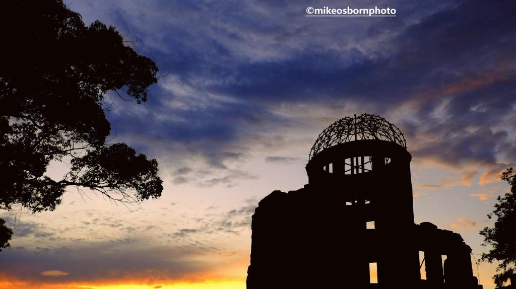 Sunset view of Hiroshima cathedral ruins, Japan