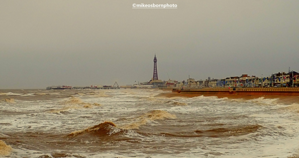 View of Blackpool and Irish Sea on stormy day