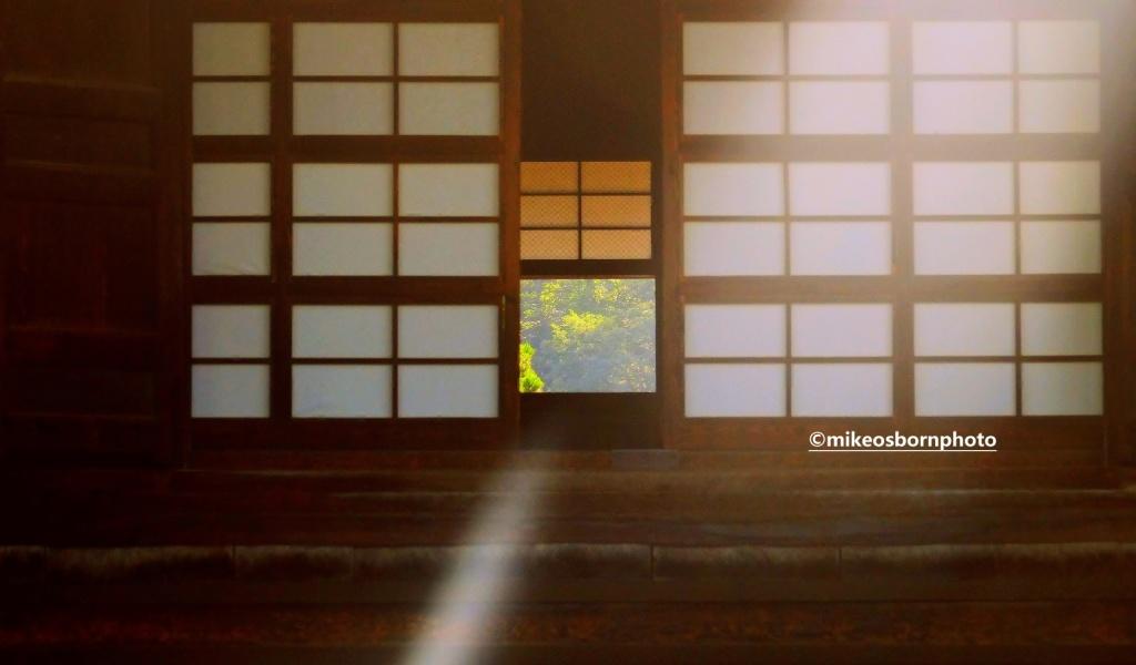 Sunlight coming through doors, Zenko-Ji Temple, Nagano, Japan