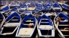 Blue boats at the fishing port at Essaouria, Morocco
