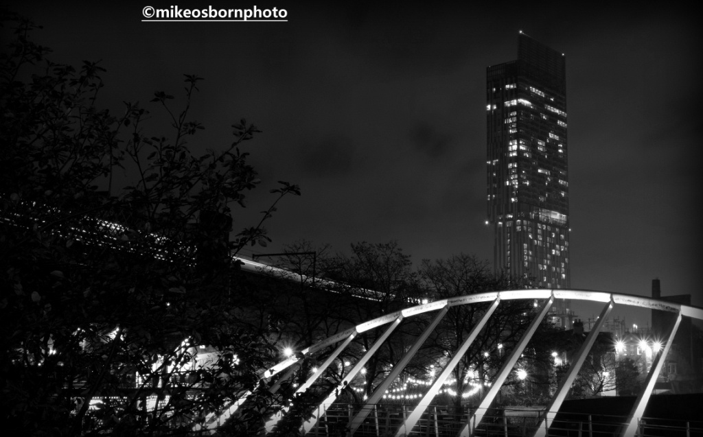 Castlefield and Beetham Tower, Manchester at night