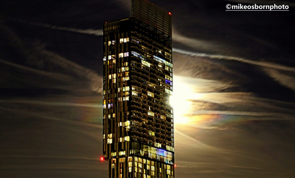 Beetham Tower, Manchester in moonlight