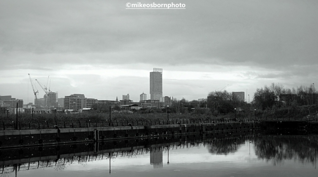 Beetham Tower Manchester seen from Pomona Island