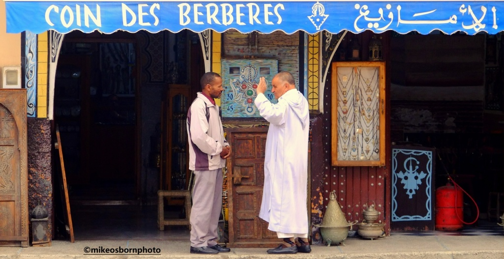 Two Moroccan men in conversation, Tiznit, Morocco
