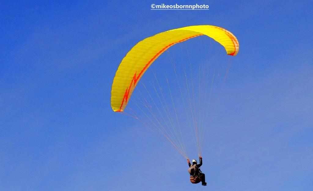 Solo paraglider over Morocco