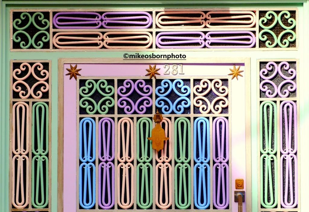 Brightly coloured front door, Tiznit, Morocco