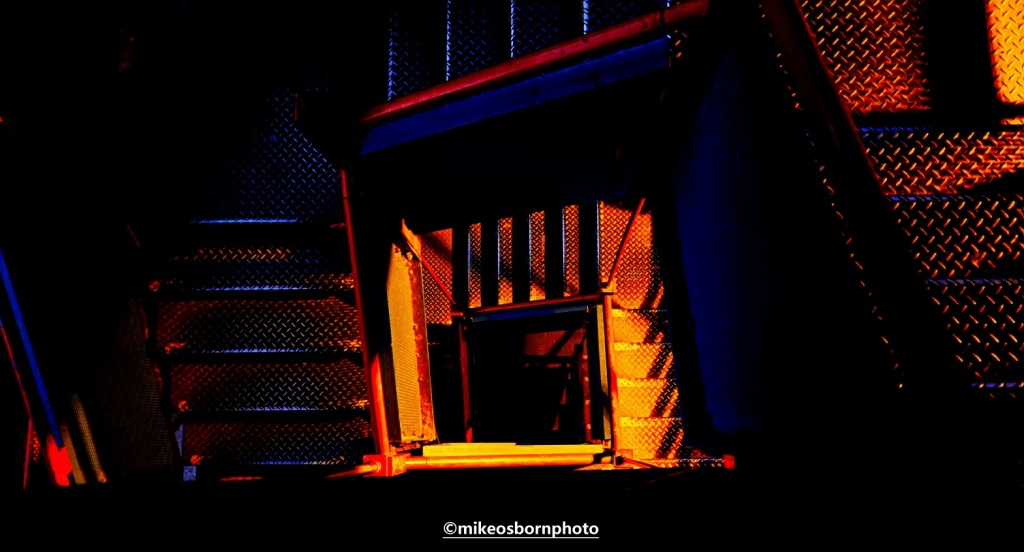 Iron staircase at Castlefield, Manchester after dark