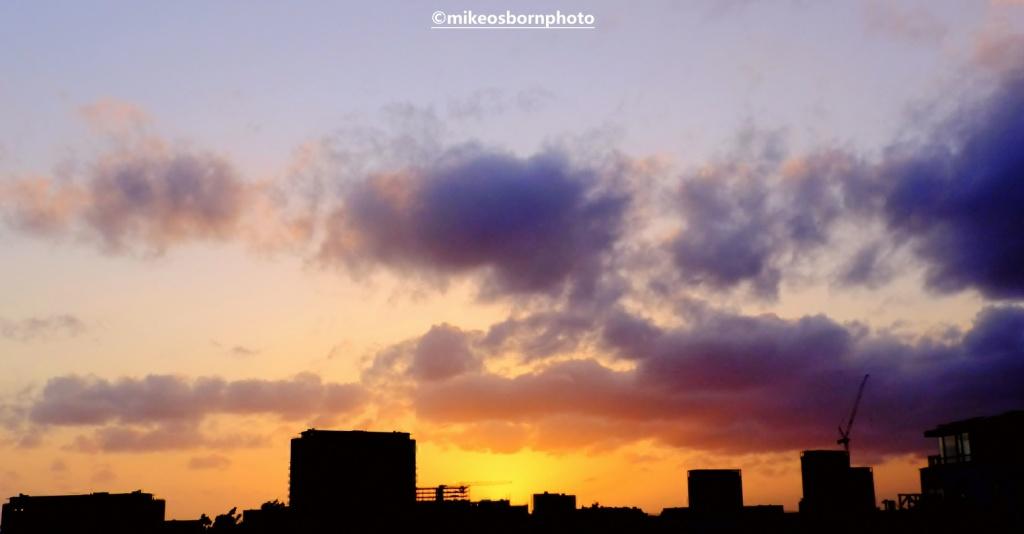 Salford skyline at sunset