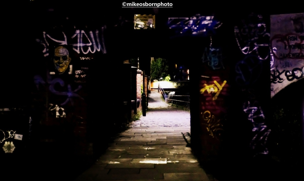 Bridgewater Canal towpath after dark, Manchester