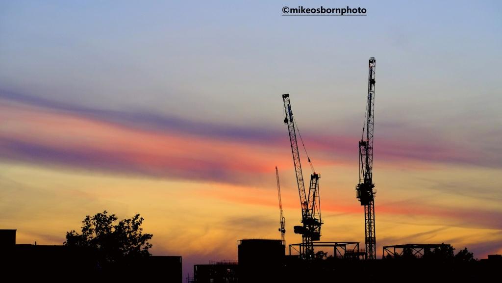 Manchester cranes at sunset