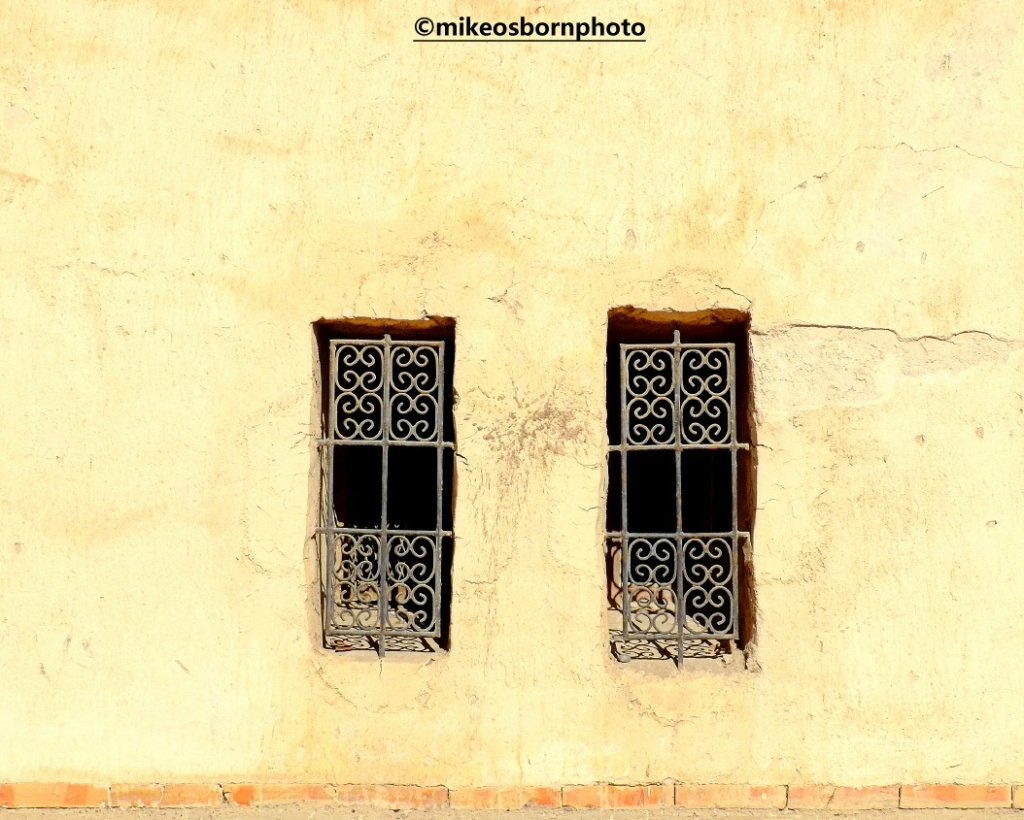 Old grille windows in Agadir, Morocco