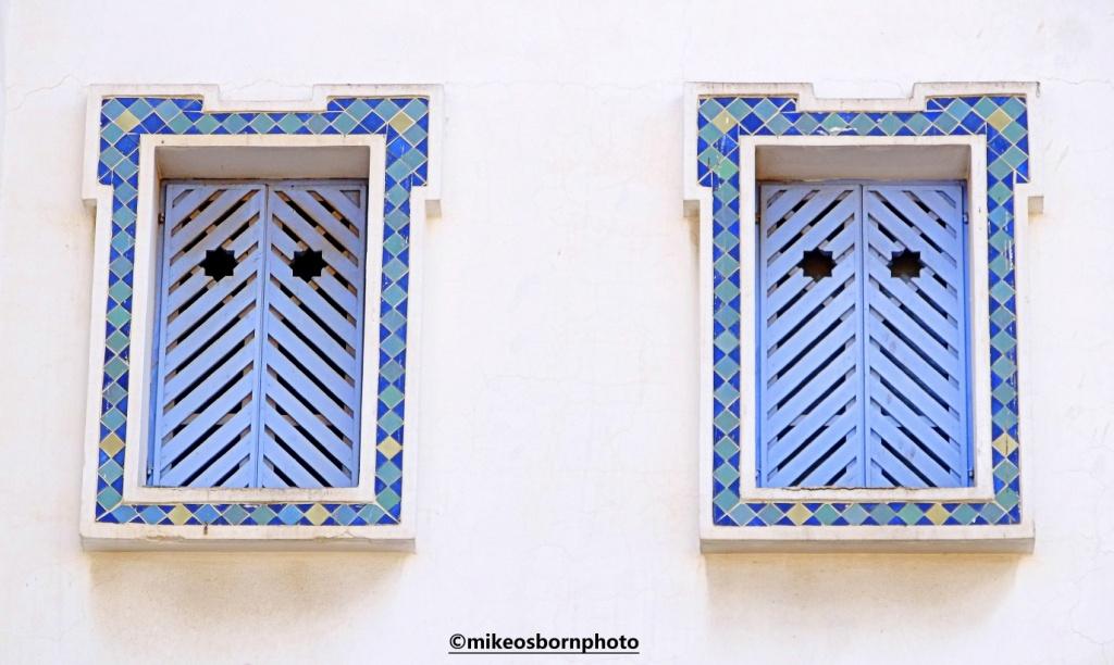 Blue shutters in Agadir, Morocco